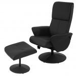 Relaxsessel Helsinki, TV-Sessel mit Hocker Kunstleder, schwarz