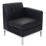 Sessel HWC-C19, Modular-Sofa Seitenteil rechts mit Armlehne, erweiterbar Kunstleder schwarz