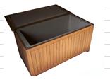 Gartenbox CP453, Gartentruhe Kissenbox 120x62x60 teak