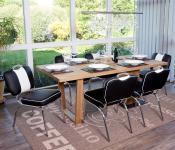 6x Esszimmerstuhl Avellino, Stuhl Lehnstuhl, Retro 50er Jahre Design, Kunstleder schwarz-weiß