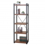 Bücherregal HWC-A27, Standregal Wohnregal, 165x55cm 3D-Struktur 5 Ebenen, Wildeiche-Optik