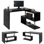 Design Eckschreibtisch HWC-A68, Bürotisch Schreibtisch, hochglanz drehbar 120x60cm schwarz