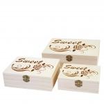 3x Holzbox T281 S+M+L Sweet, Aufbewahrungsbox Schmuckkästchen Geschenkbox Sammlerbox