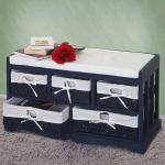 Kommode und Sitzbank mit 5 Schubladen, 77x45x36cm, Shabby-Look, Vintage blau