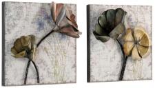 2x Wanddekoration H04, Wandbild Wandpaneel Wanddeko, Metallblumen, 36x36x11cm
