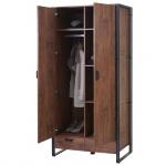 Garderobenschrank HWC-A27, Kleiderschrank Schrank 190x90x50cm 3D-Struktur, Wildeiche-Optik