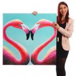 Ölgemälde Flamingo, 100% handgemalt XL, 90x90cm