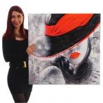 Ölgemälde Lady, 100% handgemalt XL, 80x80cm