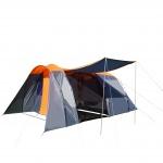Campingzelt HWC-A99, 6-Mann Zelt Kuppelzelt Festival-Zelt, 6 Personen orange/grau