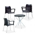 Garten-Garnitur CP434, Outdoor-Sitzgruppe Bistro-Garnitur, Kunststoff schwarz