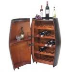 Weinregal HWC-T877, Flaschenregal Fass Holzregal, mit Tür 85x52x52cm 23 Flaschen