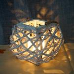 Windlicht 40cm, Hängelaterne Kerzenhalter mit Glaseinsatz 8cm, weiß-grau