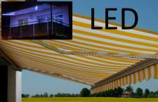 Elektrische Kassetten-Markise T124, Vollkassette Volant 5x3m LED-Beleuchtung Acryl Gelb/Weiß