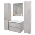 Badezimmerset HWC-B19, Waschtisch Wandspiegel 2x Hängeschrank, hochglanz grau