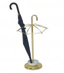 Schirmständer H17, Schirmhalter Regenschirmständer, mit Wasserauffangschale Messing-Optik