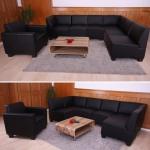 Sofa-System Couch-Garnitur Lyon 6-1, Kunstleder schwarz