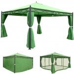 Pergola Cadiz, Garten Pavillon, stabiles 7cm-Gestell mit Seitenwand + Moskitonetz grün 4x4m