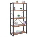 Bücherregal HWC-A27, Standregal Wohnregal, 165x80cm 3D-Struktur 5 Ebenen, Wildeiche-Optik