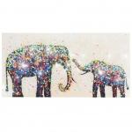 Ölgemälde Elefanten + Perlen, 100% handgem XL, 120x60cm