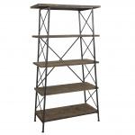 Bücherregal HWC-C10, Wohnregal Standregal, Echtholz Metall, 5 Ebenen, 172x92cm