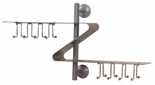 Wandgarderobe H63, Garderobe Kleiderhaken, 40x72x20cm Alu-Optik