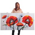 Ölgemälde Roter Mohn, 100% handgemaltes Wandbild XL, 140x70cm