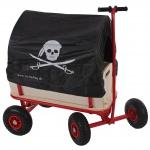 Bollerwagen Handwagen Leiterwagen Oliveira mit Sitz, ohne Bremse, Dach Pirat schwarz