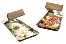 2x Grillpfännchen HE20, Gemüse-Pfännchen Grill-Raclette, Griff abnehmbar, inkl. Holzschaber
