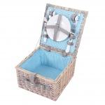 Picknickkorb-Set für 2 Personen, Picknicktasche Weiden-Korb, Porzellan Edelstahl, blau