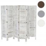 Paravent 170x276x2cm, Shabby-Look, Vintage weiß