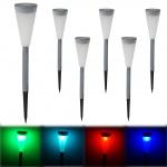 6x LED Solarleuchte HW139, Gartenleuchte Erdspiess, Bunt