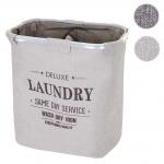 Wäschesammler HWC-C34, Laundry Wäschebox Wäschekorb Wäschebehälter mit Netz, 2 Fächer 56x49x30cm 82l beige
