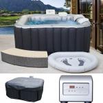 Whirlpool MSpa HWC-A62, 2+2 Personen In-/Outdoor heizbar aufblasbar 158x158cm FI-Schalter + Zubehör