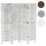 Paravent 170x182x2cm, Shabby-Look, Vintage weiß