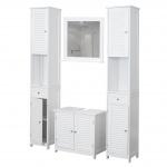Badezimmerset HWC-C66, 2x Hochschrank Waschbeckenunterschrank Wandspiegel weiß