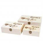 3x Holzbox T281 S+M+L Roses, Aufbewahrungsbox Schmuckkästchen Geschenkbox Sammlerbox