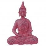 XL Deko Figur Buddha 39cm, Polyresin Skulptur, In-/Outdoor sitzend rot