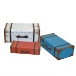 3er Set Koffer H175, Holzkoffer Kofferset Holzkoffer, Shabby-Look Vintage, 29x71x42cm