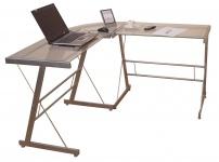 Schreibtisch H103, Eckschreibtisch Computertisch Bürotisch, Glastischplatte