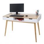 Schreibtisch HWC-A70, Computertisch Bürotisch, 120x55cm MDF Esche-Optik