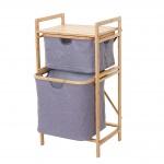Wäschesammler HWC-B56, Regal Wäschesortierer Wäschekorb Badregal Aufbewahrung, Bambus 84x44x34cm 72l