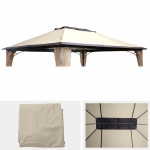 Ersatzbezug für Dach Pergola Pavillon HWC-C44 4x3m, creme
