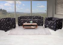 3-1-1 Sofagarnitur Couchgarnitur Loungesofa Lille, Textil grau/schwarz