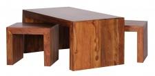 Couchtisch Malatya, Wohnzimmertisch mit 2 Hockern, Sheesham Massivholz, 110x60x40cm