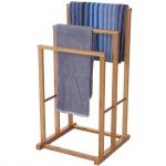 Handtuchhalter HWC-B18, Badezimmer Handtuchständer freistehend, Bambus 82x42x42cm