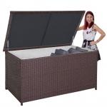 XXL Poly-Rattan Kissenbox HWC-D43, Truhe Auflagenbox Gartentruhe, 80x160x95cm 950l braun