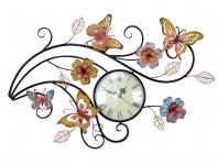 Wanduhr H04, Wanddekoration Wanddeko, Schmetterlinge mit Blumen, 51x50x4cm