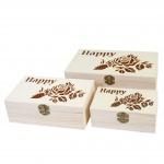 3x Holzbox T281 S+M+L Happy, Aufbewahrungsbox Schmuckkästchen Geschenkbox Sammlerbox