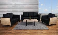 3-2-1 Sofagarnitur Nancy, Couch Kunstleder, schwarz