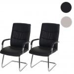 2x Konferenzstuhl HWC-A49, Besucherstuhl Freischwinger, Kunstleder schwarz